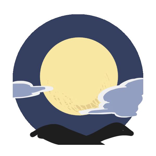 空に浮かぶ月のイラスト
