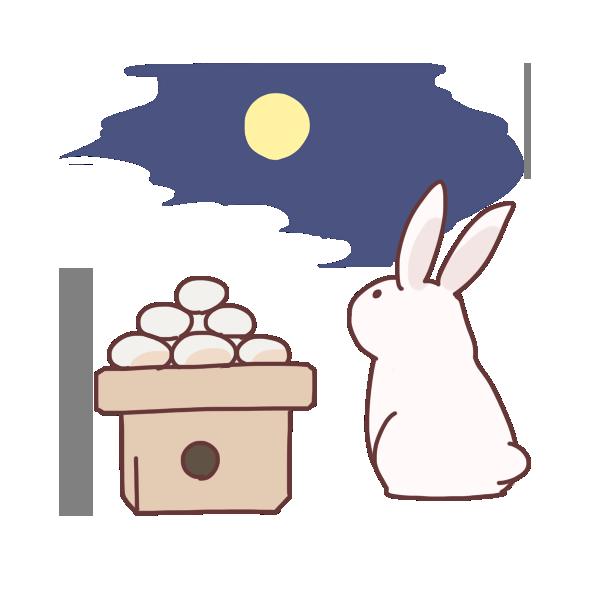月と団子とウサギのイラスト