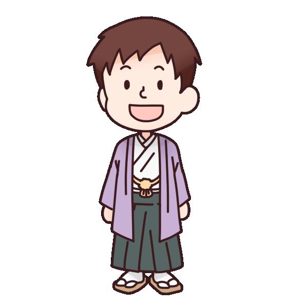 紫色の袴を着た男の人のイラスト