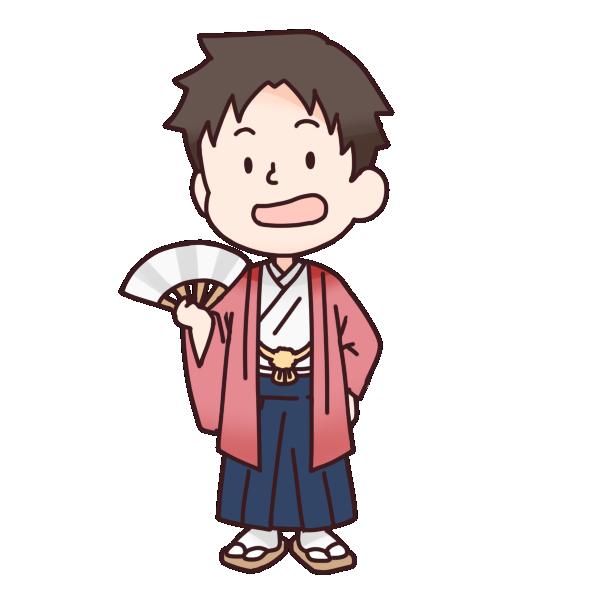 赤色の袴を着た男の人のイラスト