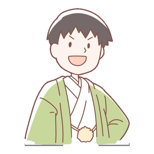 緑色の袴を着た男の人のイラスト
