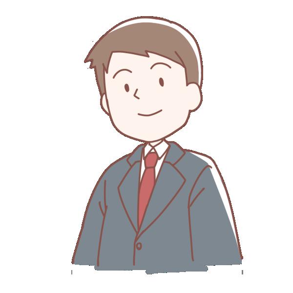 灰色のスーツを着た男の人のイラスト