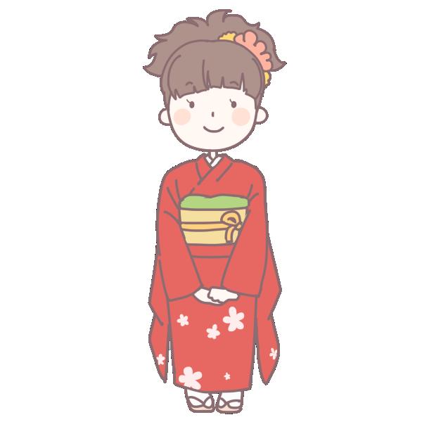 赤い着物を着た成人女性のイラスト