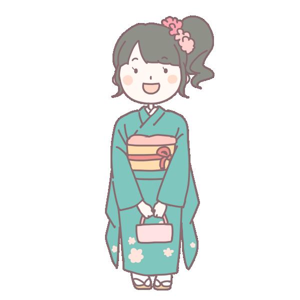 緑の着物を着た成人女性のイラスト