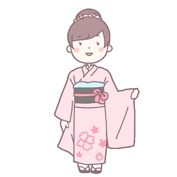 桃色の着物を着た成人女性のイラスト