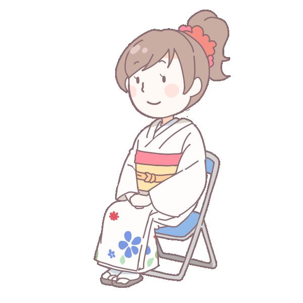 白い着物を着て座っている成人女性のイラスト