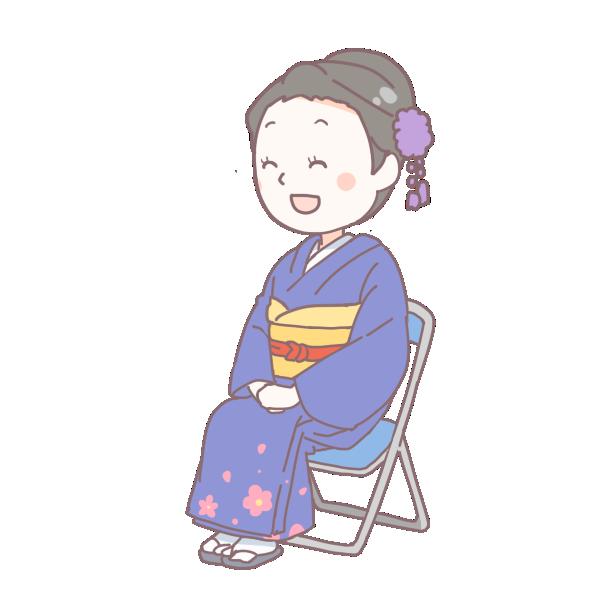 青い着物を着て座っている成人女性のイラスト