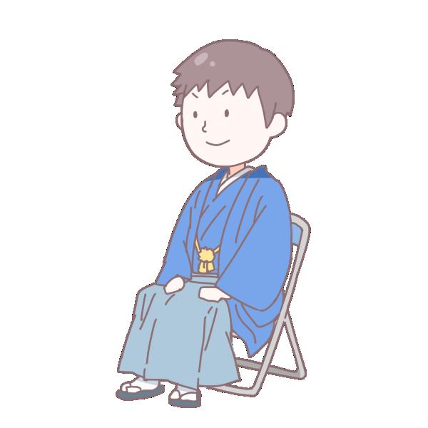 青い袴を着て座っている成人男性のイラスト