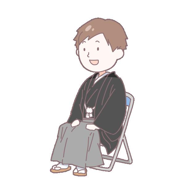 黒い袴を着て座っている成人男性のイラスト