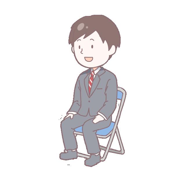 灰色のスーツを着て座っている成人男性のイラスト