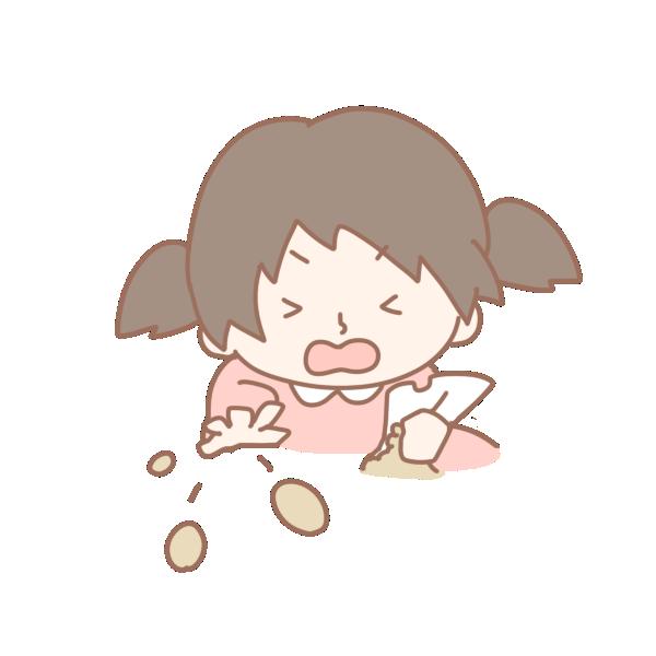 豆を投げる女の子のイラスト