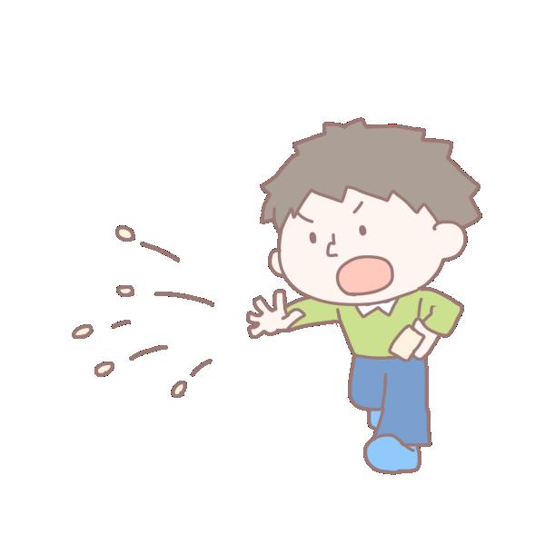 豆を投げる男の子のイラスト