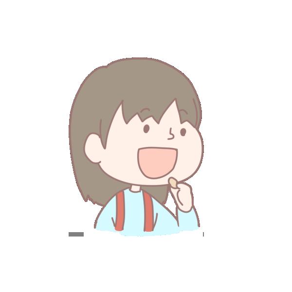 豆を食べる女の子のイラスト