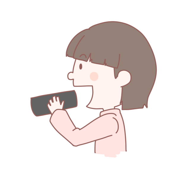 恵方巻きを食べる女の子のイラスト