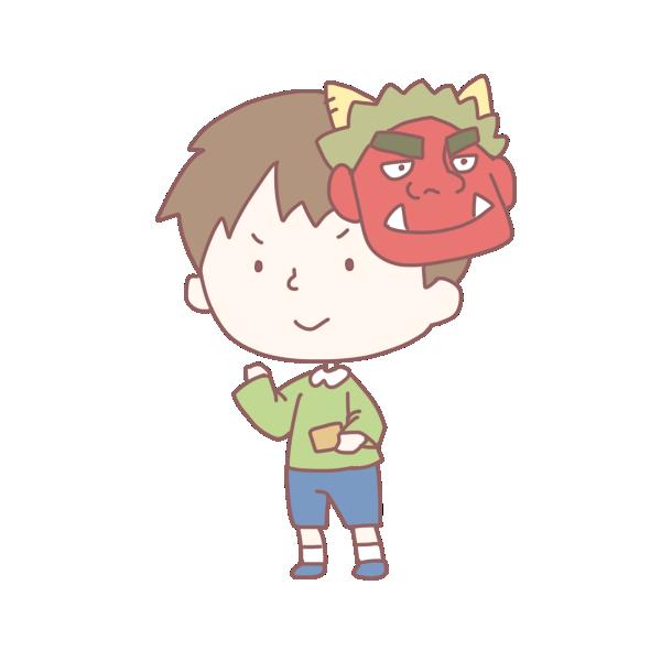 鬼の面をかぶった男の子のイラスト