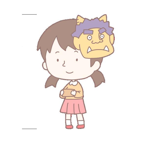 鬼の面をかぶった女の子のイラスト