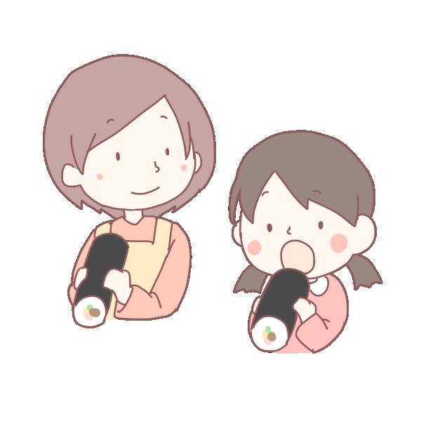 恵方巻きを食べる親子のイラスト