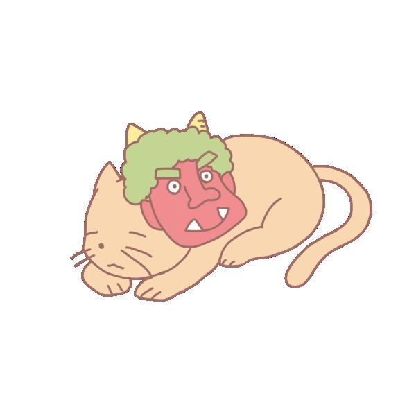 鬼の面と猫のイラスト