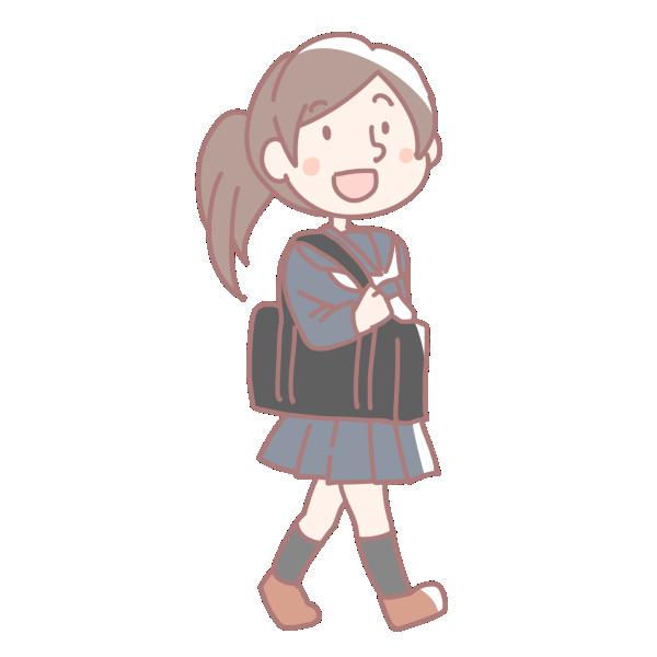 登校する女の子のイラスト
