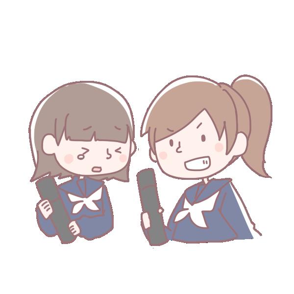 卒業生の2人の女の子のイラスト