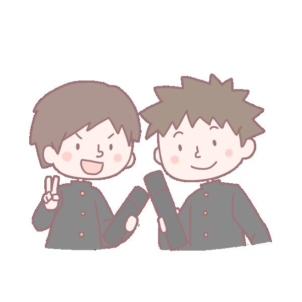 卒業生の2人の男の子のイラスト