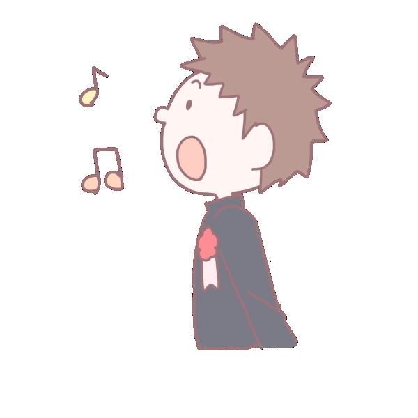 歌を歌う卒業生の男の子のイラスト