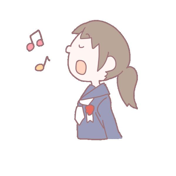 歌を歌う卒業生の女の子のイラスト
