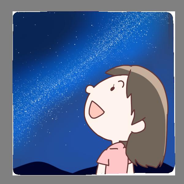 天の川を見上げる女の子のイラスト