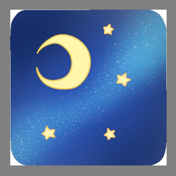 天の川と月と星のイラスト
