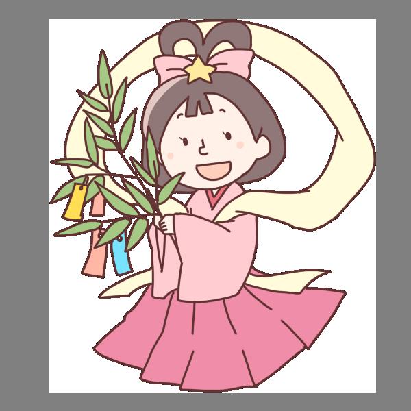 笹の葉を持った織姫のイラスト