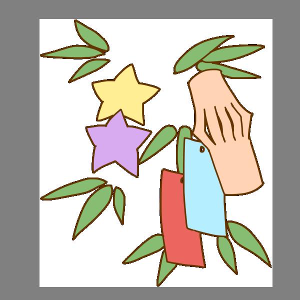 笹と飾りと短冊のイラスト