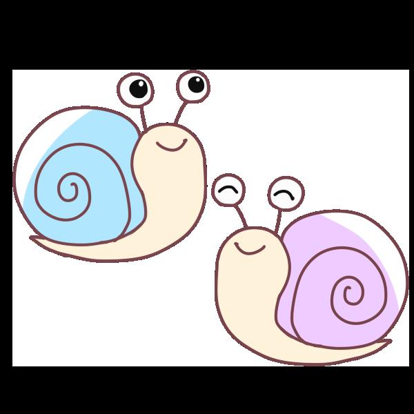 2匹のかたつむりのイラスト