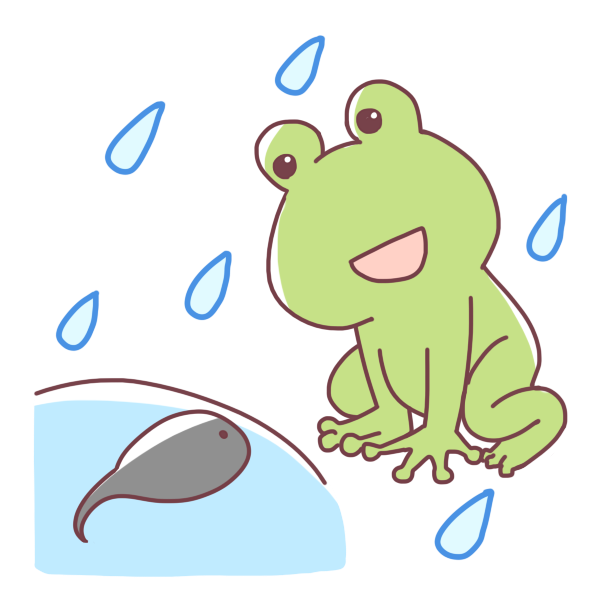 カエルとおたまじゃくしのイラスト