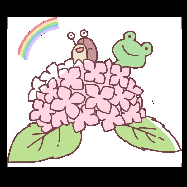 紫陽花から覗くカエルとかたつむりのイラスト