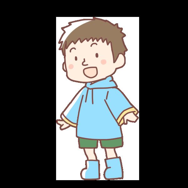 レインコートを着た男の子のイラスト