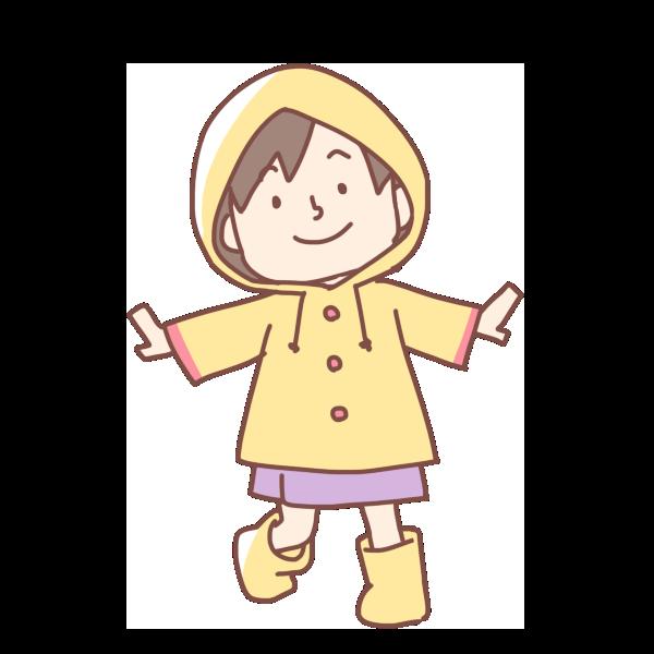 レインコートを着た女の子のイラスト