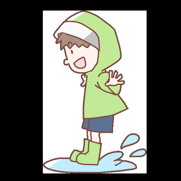 水たまりにジャンプする男の子のイラスト