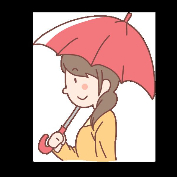 赤い傘をさす女性のイラスト