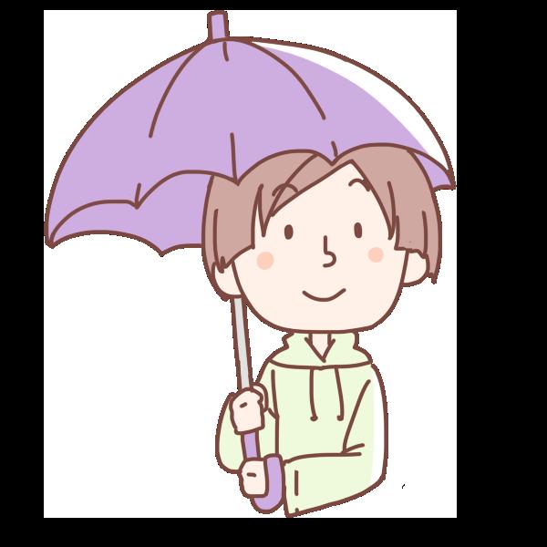 紫の傘をさす女性のイラスト