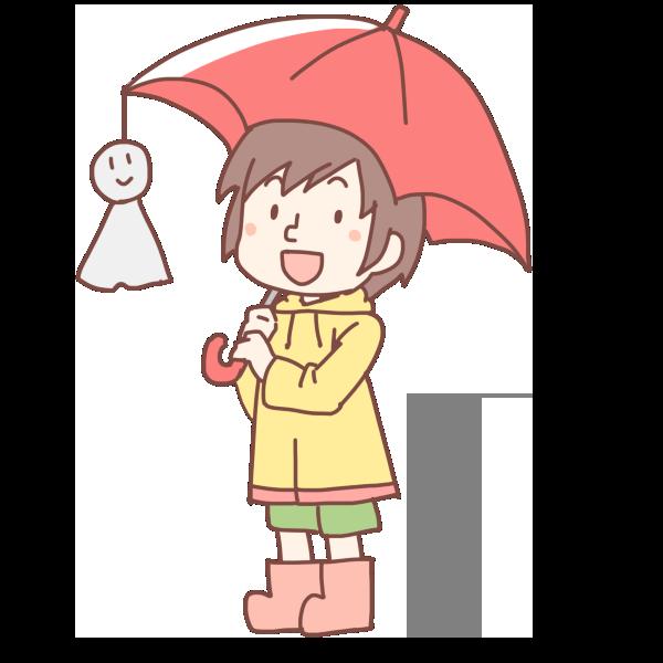 赤い傘をさした女の子のイラスト