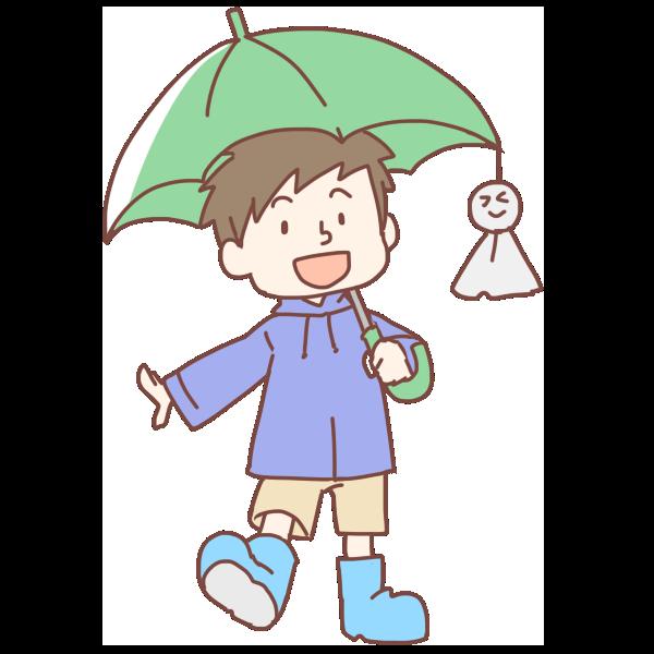 緑の傘をさした男の子のイラスト