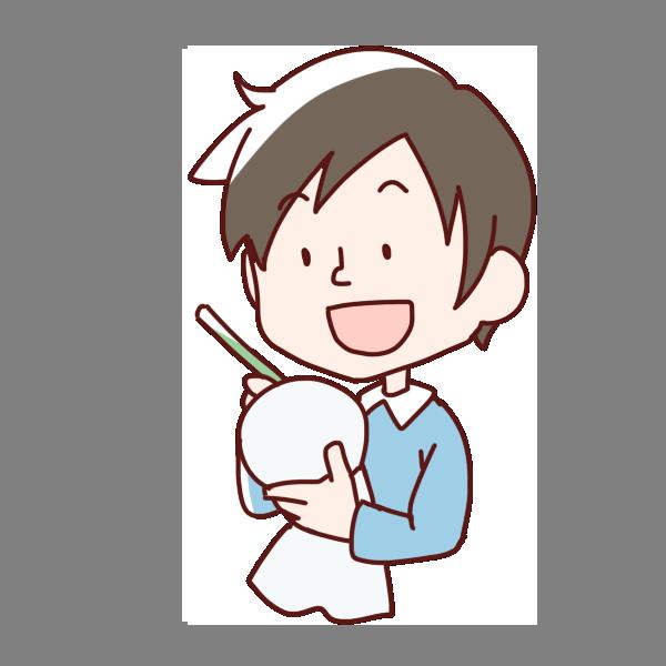 てるてる坊主の顔を描く男の子のイラスト