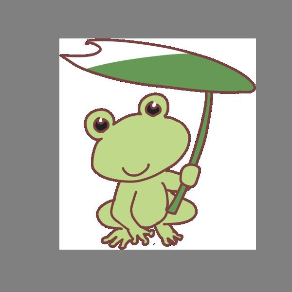 カエルと蓮の傘のイラスト