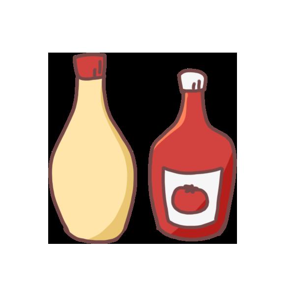 マヨネーズとケチャップのイラスト