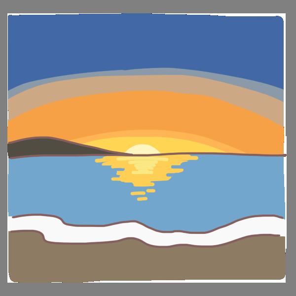 夕日と海のイラスト
