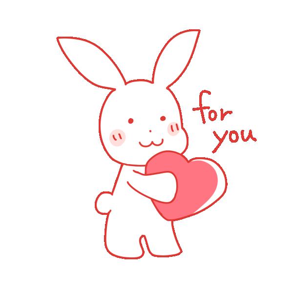 ハートを持つウサギのイラスト