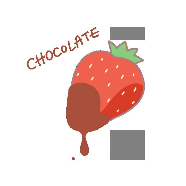 チョコレートがついた苺のイラスト