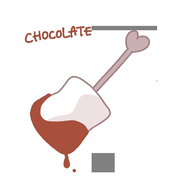 チョコレートがついたマシュマロのイラスト