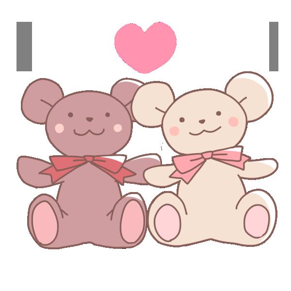 2匹のクマのぬいぐるみのイラスト