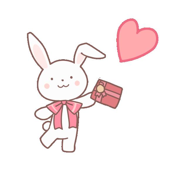 プレゼントをもつウサギのイラスト